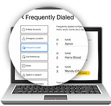 Create your preferences for call such as frequently dialed numbers and emergency number.